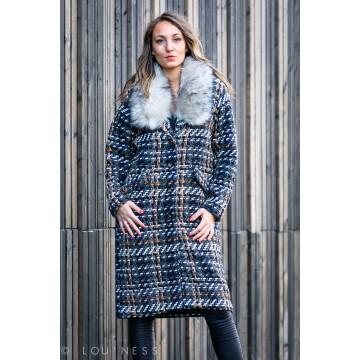 Manteau moucheté avec col...
